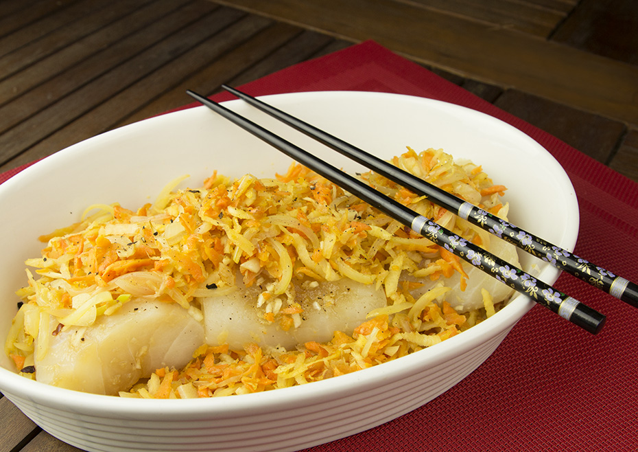 Orientalna ryba z warzywami